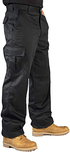 BKS Mens Combat Cargo Work Trousers Size 30 to 52 with Knee PAD Pockets (32 Short, Black)