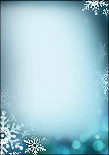 SIGEL DP255 Papel navideño, copos de nieve, 21 x 29,7 cm, 90 g/m², azul, 25 hojas