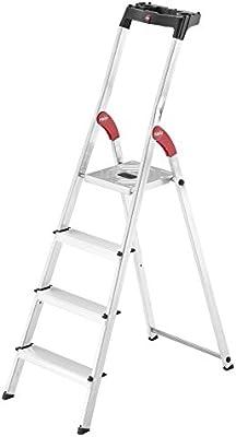 Hailo 8160-427 L60 4 ft. Lightweight Folding Aluminum Platform Step Ladder with Built-in Worktray
