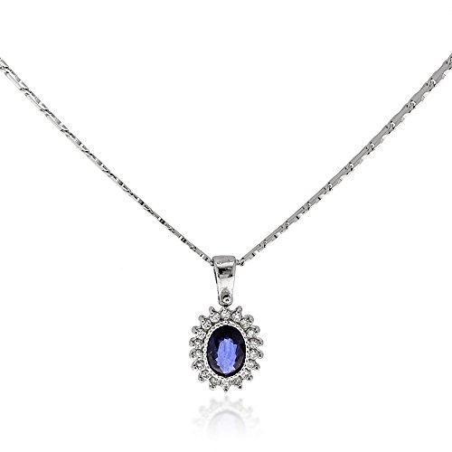 Gioiello Italiano - Ketting in 14kt witgoud, vrouwen, met diamanten 0.30ct en saffier 1.10ct