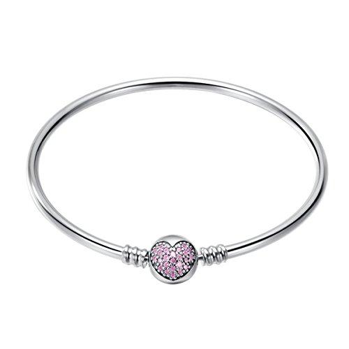 CHANGEABLE Bracciali Donna con Aperto Argento Sterling 925 Lunghezza 19CM - Cardiaco Rosa