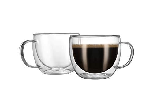 CnGlass Cappuccino Glass Mugs 8.1oz,Clear Coffee Mug Set of 2 Espresso Mug Cups,Double Wall Insulated Glass Mug with Handles(Latte Glasses,Tea)