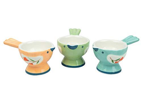 WD-Set of 3 Pcs Cute Bird Shape Ceramic egg cups for soft boiled eggs kids cup holder (Egg holder) -...