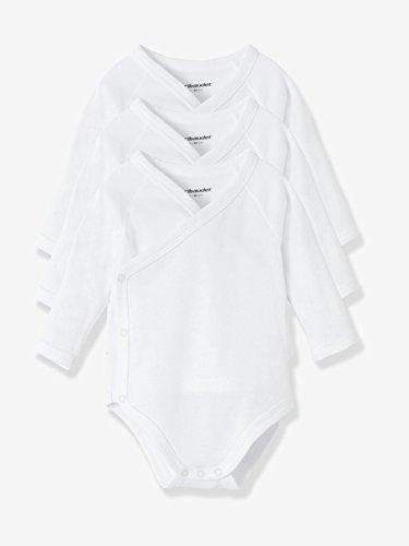 VERTBAUDET Lote de 3 bodies blancos de manga larga 100% algodón recién...