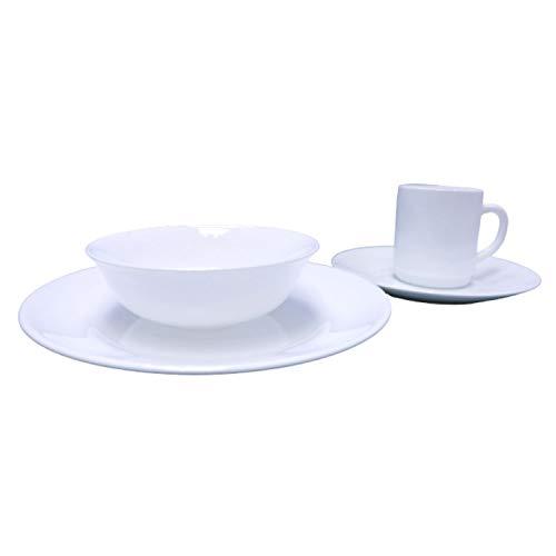 PROEPTA Set de Vajilla 24 Piezas de Vidrio Templado Restaurant White para 6 Personas