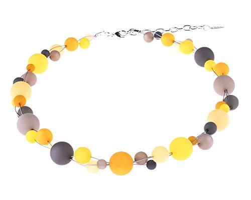 'Pola riskette'Linda, modischer Mix de verflochtenen Polaris perlas en 6mm hasta 14mm Tamaño en contraste de amarillo y grises, hecha a mano de Adi de bisutería en Berlín