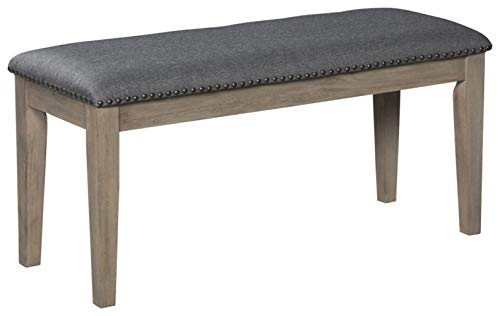 Signature Design by Ashley Dining Room Bench Upholstered Seat, Aldwin, Rustic Brown/Grey
