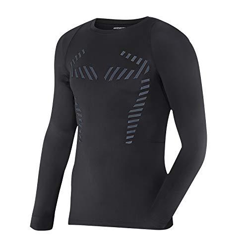 AMZSPORT Herren Thermoshirt Kompressionsshirt Langarm Funktionsunterwäsche Winter T-Shirt Laufshirt, Schwarz S