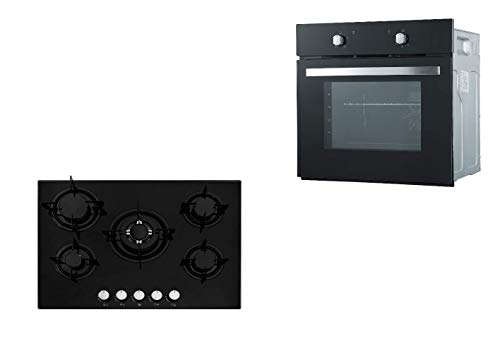 Cookology Fan Oven & 70cm Gas on Glass 5 Burner Hob with Enamel Pan Supports in Black Pack