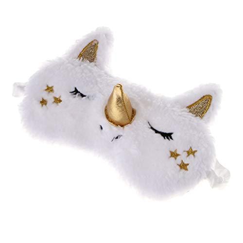 P Prettyia Einhorn Mädchen Kinder Schlafmaske Reise Augenmaske Schlafbrille Augenbinde für Reisen Nickerchen Nacht - Goldhorn