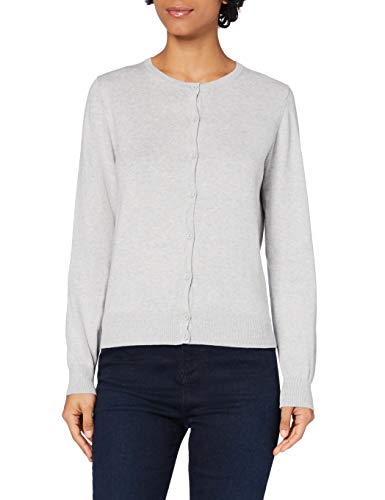 Amazon-Marke: MERAKI Baumwoll-Strickjacke Damen mit Rundhals, Grau (Light Grey), 44, Label: XXL