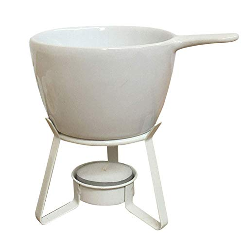 AJH Keramik Fondue Set Wärmer Schokoladentopf auf Metallständer Schokoladenbrunnen Fondue mit 2 Gabel für Hausmannskost