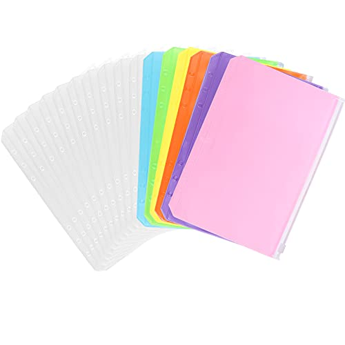 16 Pieces Binder PVC Pocket Notebook Binder Loose Leaf Bags 6...