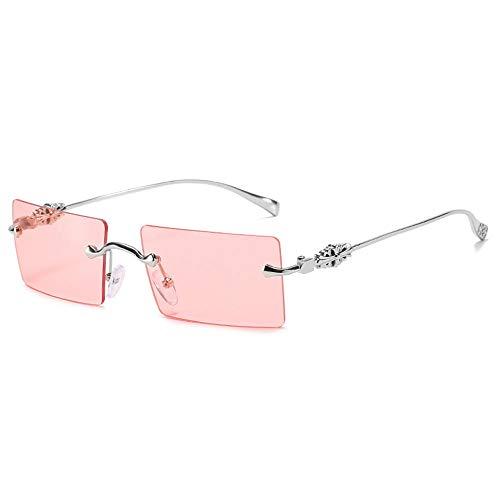 Sonnenbrille Metall Rechteck Sonnenbrille Frauen Randlos Quadrat Rot Grün Linse Uv400 Auge Sonnenbrille Shades Für Damen-C7