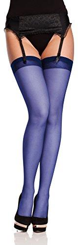 Antie Medias Autoadhesivas Sin el Cinturón Lencería Sexy Mujer O 4006 20 DEN (Nevy Azul, L (Tamaño del fabricante: 4))
