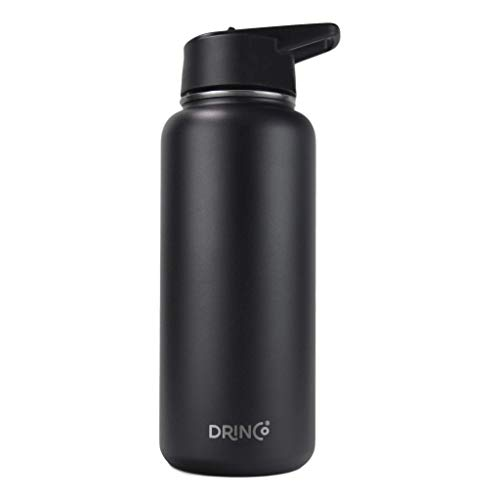 DRINCO Stainless Steel Water Bottle Straw Lid (3 lids) Vacuum Insulated Double Wall Water Bottle Wide Mouth (32oz) Leak Proof Keeps Cold or Hot (32 oz, Black)