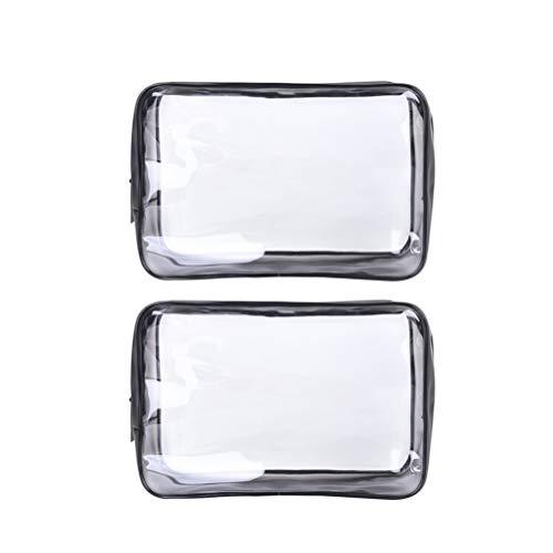 Cabilock 2Pcs Transparent PVC Toiletry Bag Travel Makeup Pouch Sundry Bag, Large Capacity Zipper Cosmetics and Toiletries Organizer Bag