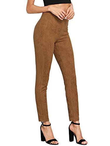 SweatyRocks Damen-Leggings, hohe Taille, weich, schmal, legere Hose, solide Wildleder-Leggings - Braun - Mittel