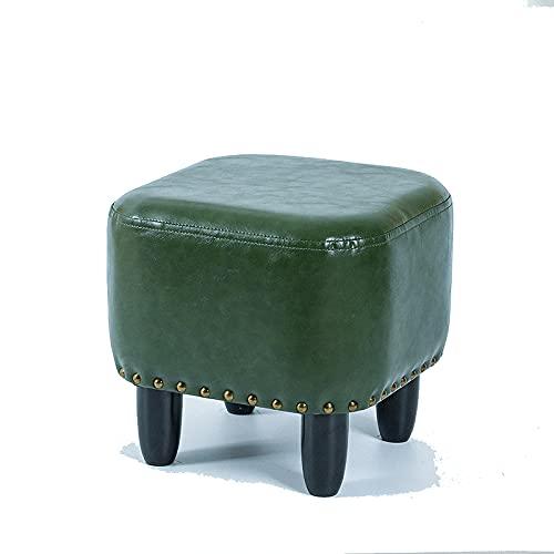 Sofá taburete de cuero, estilo moderno, taburete bajo cuadrado verde, taburete pequeño con cojín artificial suave, patas de taburete de madera maciza, esponja de alta resiliencia, asiento cómodo, ad