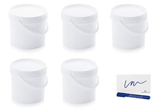 MARKESYSTEM Cubo HERMÉTICO Catering Pack de 5 X 8,6 litros - Cubos de Plástico con Tapa - Contenedores Apilables - Envasar Alimentos, Líquidos y Pinturas - Polipropileno Blanco + Kit Etiquetado