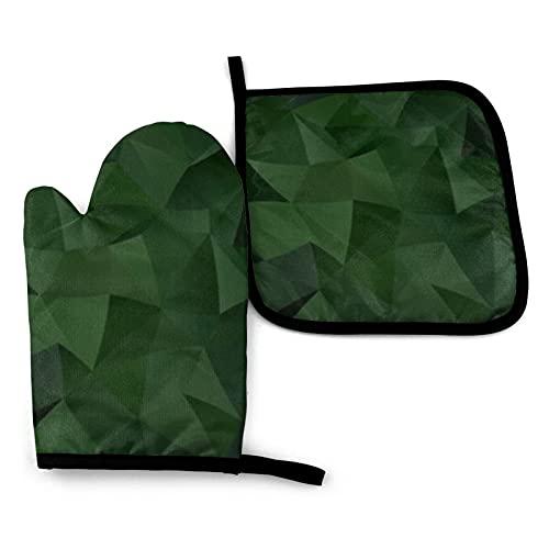 Juego de manoplas y manoplas triangulares brillantes de color verde oscuro con guantes de cocina antideslizantes de poliéster reciclable para cocinar y asar
