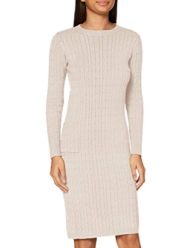 APART trendiges Damen Kleid, Strickkleid, mit Kaschmir-Anteil, Zopfmuster Allover, figurbetonende Form, beige, M