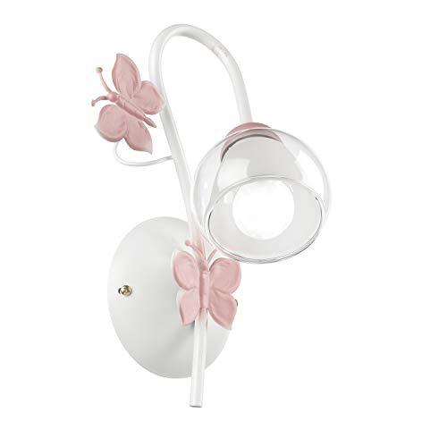 ONLI Applique a Una Luce in Metallo Farfalle dipinte in Bianco/Rosa