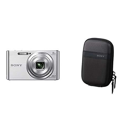 Sony DSC-W830S Appareil Photo Numérique Compact, 20.1Mpix, Zoom Optique 8X, Stabilisation Optique - Argent & LCS-TWPB Housse de Transport Protectrice pour Appareil Photo - Noir