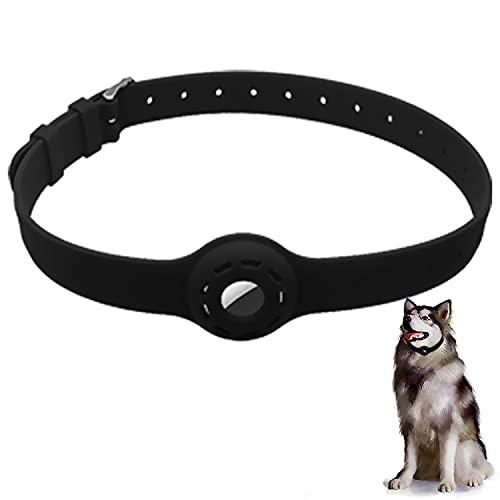 AiMok Funda Protector Collar de Silicona Compatible con AirTag 2021, Mascotas Perros y Gatos Correa Ajustable Locator Tracker Collar Cover Anti-Arañazos GPS Funda para AirTag - Negro
