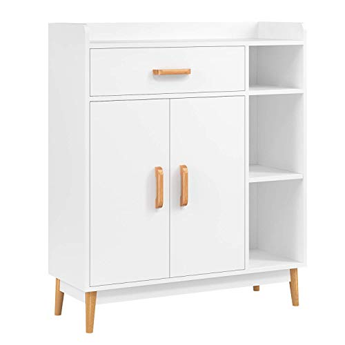 Cupboard White Storage Cabinet Freestanding Chest of Drawer Sideboard Display Cabinet Wooden Shelving Unit with 3 Shelves, 2 Doors and 1 Drawer 80x29.5x93cm