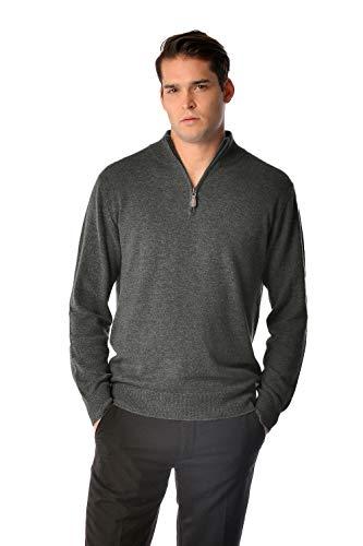 Cashmere Boutique: Men's 100% Pure Cashmere Half Zip Sweater (Color: Charcoal Gray, Size: Medium)
