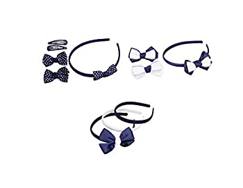 French Toast Girl s School Uniform Headbands and Bow Clips 3-pack Navy