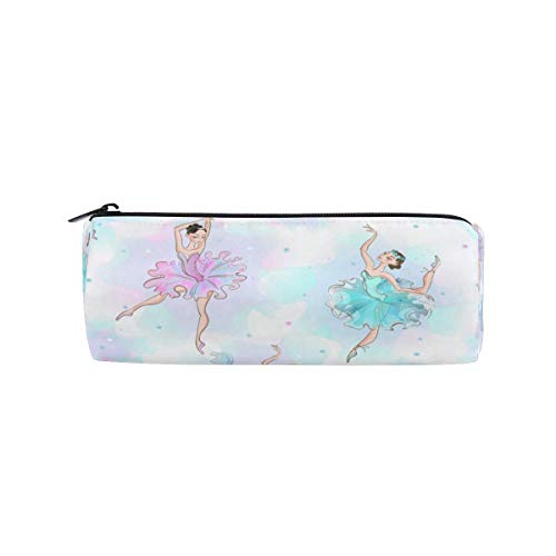 Pencil Bag Ballet Dancer Pattern, Pencil Case Pen Zipper Bag Pouch Holder Makeup Brush Bag for School Work Office