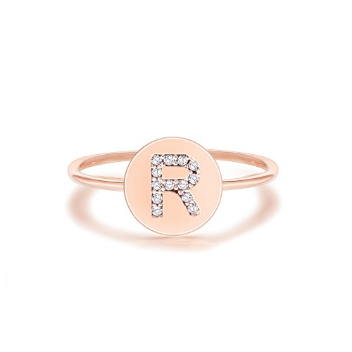 PAVOI 14K Rose Gold Plated Initial Ring Stackable Rings for Women | Fashion Rings - R Ring