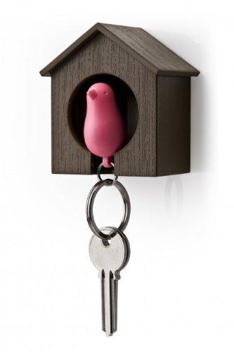 Qualy Ql10091Schlüsselanhänger mit Schlüsselbrett, Schlüsselahnhänger mit Vogelhaus Braun/Pink