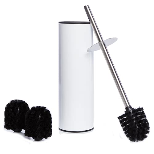 Bamodi Edelstahl Klobürste und Behälter – Mit Spritzschutz und 2 Ersatzbürstenköpfen – Weiß Toilettenbürste