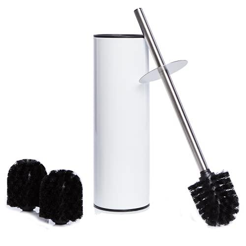 Bamodi scopini per WC con Porta scopino – Scopettino Bagno in Acciaio Inox con portascopino WC con 2 Spazzole di Ricambio per WC – Scopino WC con Design discreto a Prova di Impronte