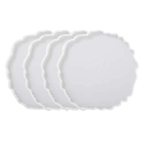 Tamkyo 4 piezas de silicona de ágata de resina para hacer bastidores, posavasos epoxi, manualidades, decoración del hogar