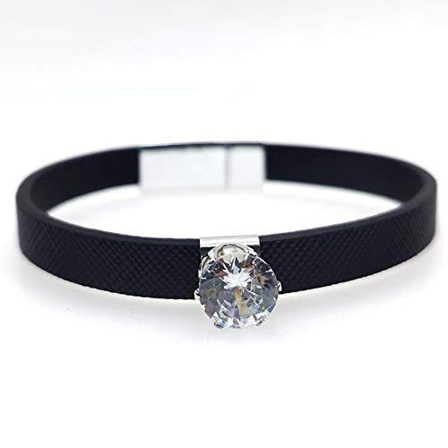 Kaniz explosivo Rhinestone pulsera de cuero para mujeres creativo hierro femme pulseras anchas brazaletes joyería femenina, 1