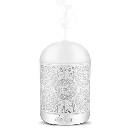 JVJH Diffuseurs d'huiles essentielles 300ml Humidificateur Super silencieux 8-12 heures avec 7 Couleurs Lumières LED (Blanc)