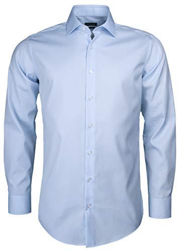 Herren Hemd aus Baumwolle Regular Fit Langarm Bügelfrei natürlicher Stretch (hellblau, 42)