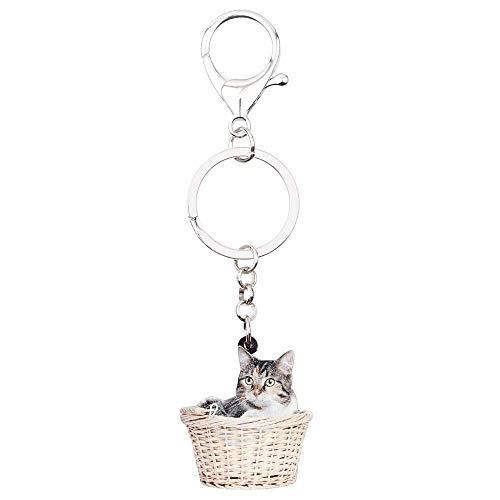 DdA8yonH Sleutelhanger Acryl Leuke Mand Kitten Kat Sleutelhangers Sleutelhangers Ringen Cartoon Dieren s Sieraden Voor Vrouwen Meisjes Tas Hanger Bedels