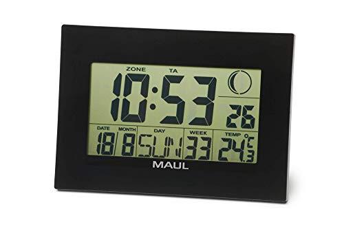 Maul Digitale Wanduhr MAULflow mit Temperatur-, Zeit-, und Datumsanzeige, Wecker und Kalender, Snooze-Funktion, große Zahlen, Schwarz, 9082890