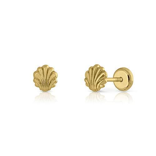 Pendientes oro 18k,niña o mujer, modelo concha marina pulida alto brillo. Medida de la joya 5.5 mm. Con cierre de máxima seguridad.