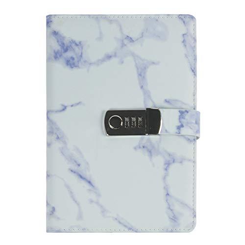 iLoveDeco Creativo Cuaderno de Cuero PU(Patrón de Mármol), A5 Personal Planificador Diario Organizador, Secret Diary Sketchbook con Candado de Combinación y Ranuras para Tarjetas, 150x218mm