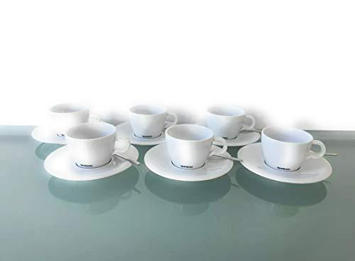 Nespresso Set 6 Cappuccino Tassen Untertassen und Löffel Classic Porzellan Kaffe