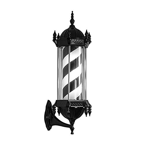 Poste De Peluquería Giratorio LED, Luz Giratoria De Rayas Impermeables Al Aire Libre Letrero para Peluquería, Luz De Pared, 15 W, 28,3 X 10,23 Pulgadas,Black White