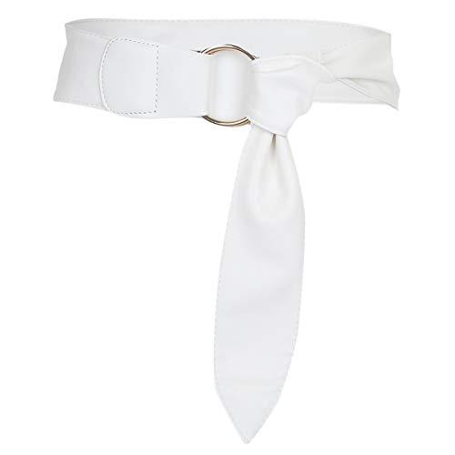 KYEYGWO Damen Kleid Gürtel 6cm Breit, Verstellbarer PU-Leder Gürtel mit Doppel Ringe Metallschnalle, Weiß
