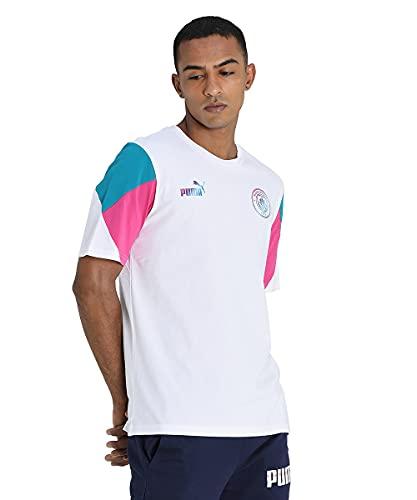 Puma Manchester City Temporada 2021/22, Equipación de Juego, Camiseta, Hombre, White-Ocean Depths, M