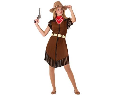 Atosa-61597 kostuum Cowgirl, Indianen en Cowboys, dames, 61597, bruin, jongeren